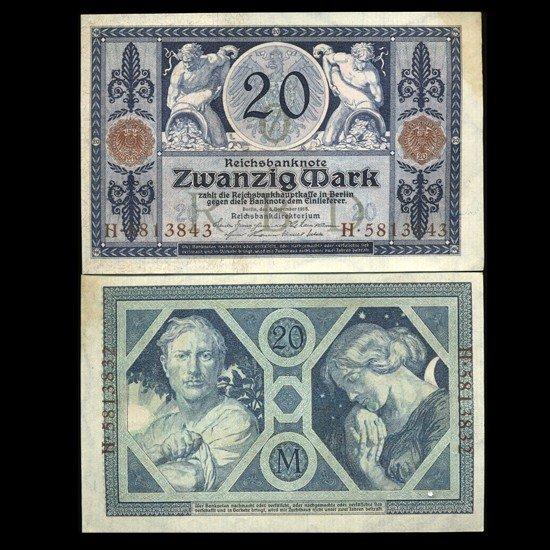 75: 1915 Germany 20 Mark Note Hi Grade Very Rare