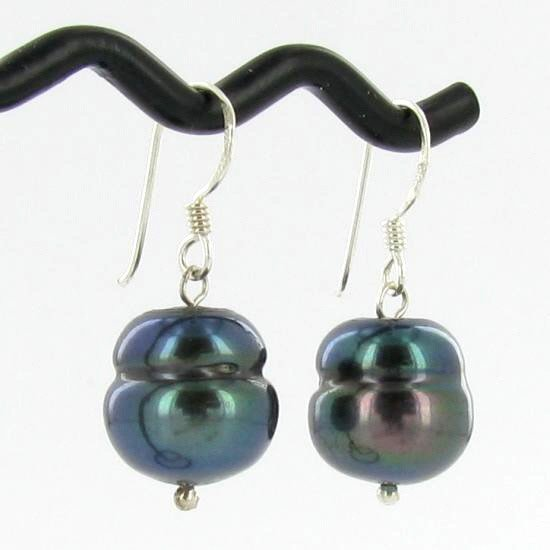 77: Saltwater Baroque Black Pearl Earrings