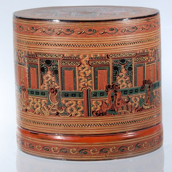 40A: Burmese Red Laquerware Food Container