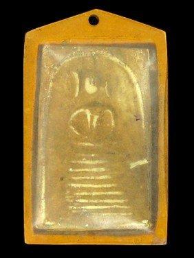 Antique Thai Clay Buddha Amulet In Plastic Pendant