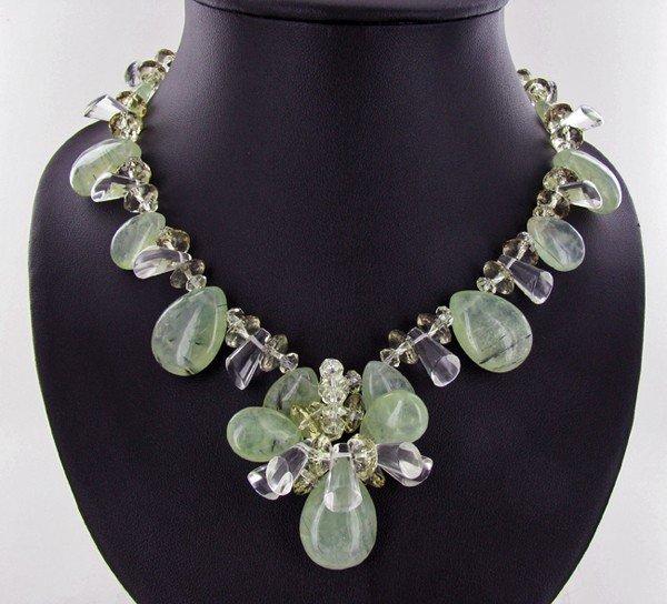 30: 900twc Rare Rutile Prehnite & Crystal Necklace Set