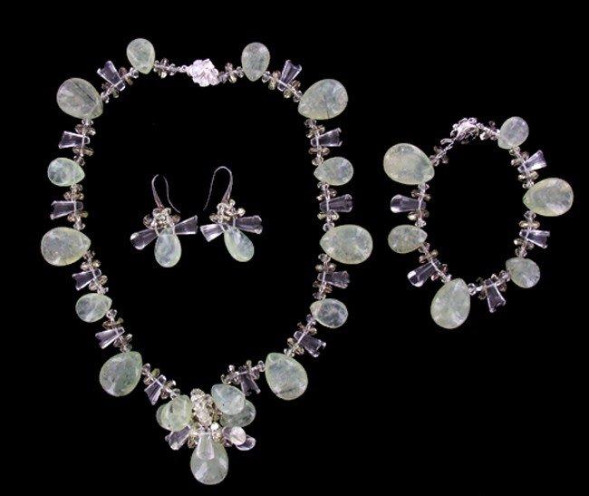 30: 900twc Rare Rutile Prehnite & Crystal Necklace Set - 4