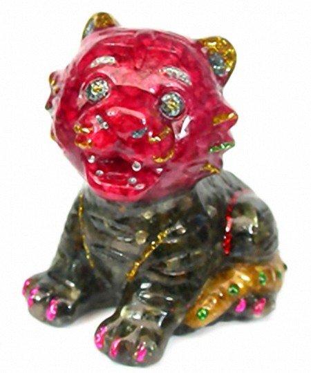 81: 1200ct. Cat Statue Fancy Sapphire~Topaz