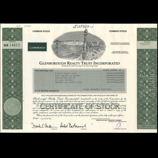 88: 1990s Glenborough Realty Stock Certificate Scarce