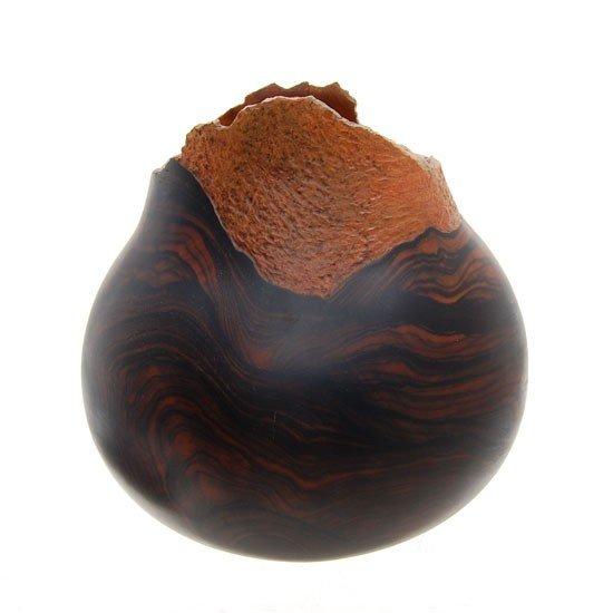 2091A: Ebony Burl RARE Hand Carved Vase - 4