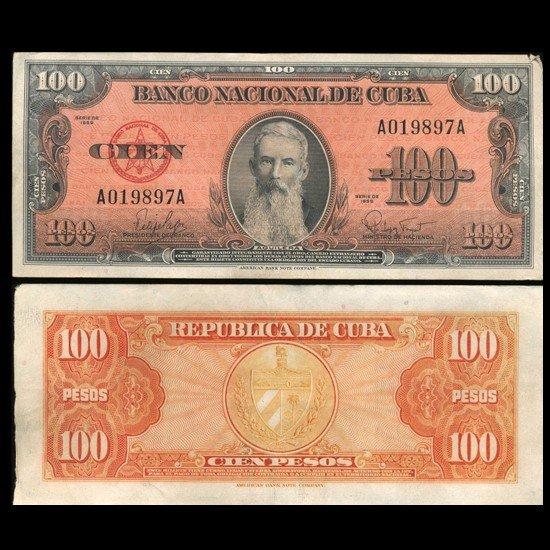 2215: 1959 Cuba 100 Peso Hi Grade Note