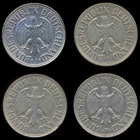1956 D/F/G/J Germany 1 Mark Hi Grade RARE 4 Pcs EST