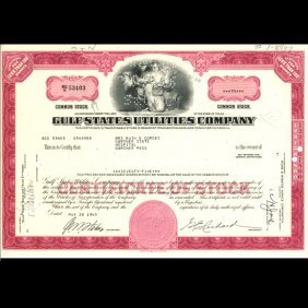 1960s Gulf States Utils Stock Certificate Scarce ES