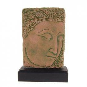 Excellent Hand Cast Sandstone Buddha Face EST: $152