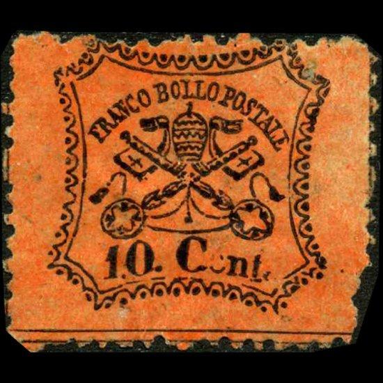 65: 1868 Papal States 10c Stamp MINT NG ERROR EST: $120