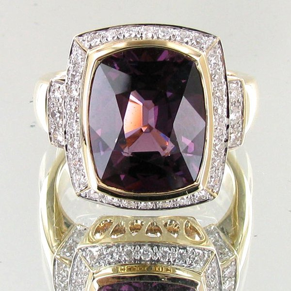 77: 7.29ct Grape Spinel Diamond 14k Ring EST: $9000 - $