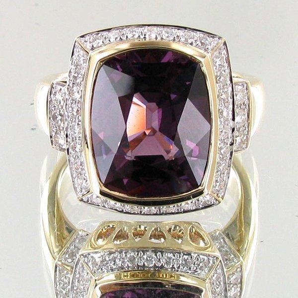 77: 7.29ct Grape Spinel Diamond 14k Ring EST: $9000 - $