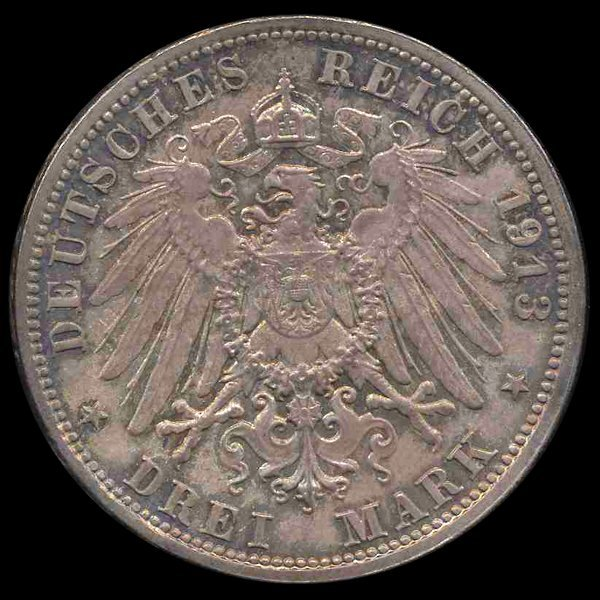1627: 1913 Germany Saxony 3 Mark MS66+ EST: $1050 - $21