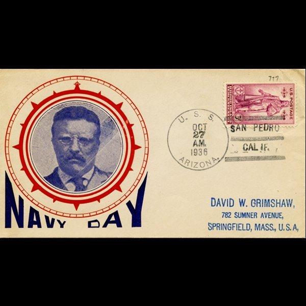 22A: 1936 US 3c Navy Day Cover USS Arizona RARE