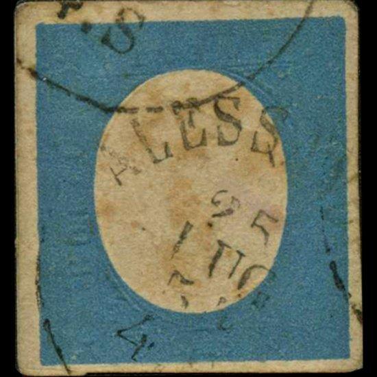 59A: 1854 RARE Italy Sardina 20c Stamp