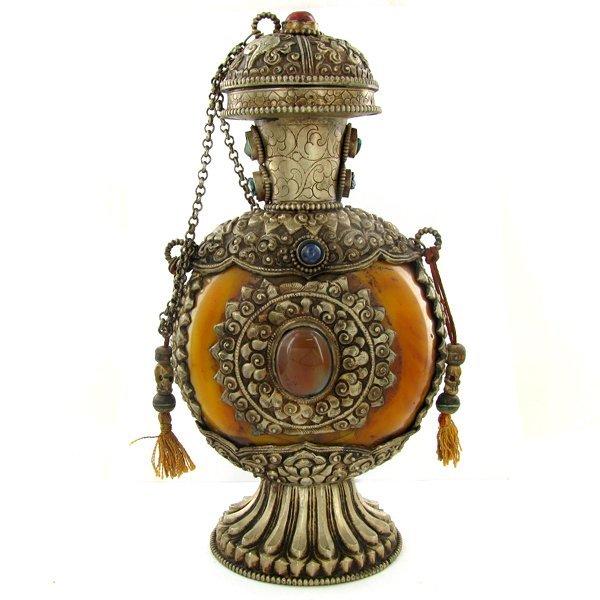 1993: Tibet HUGE Amber Nickel Snuff Bottle EST: $1800 -