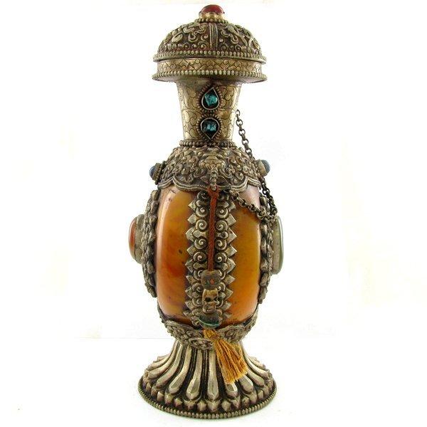 1993: Tibet HUGE Amber Nickel Snuff Bottle EST: $1800 - - 2