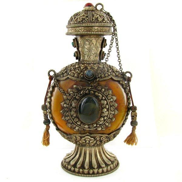 1993: Tibet HUGE Amber Nickel Snuff Bottle EST: $1800 - - 3