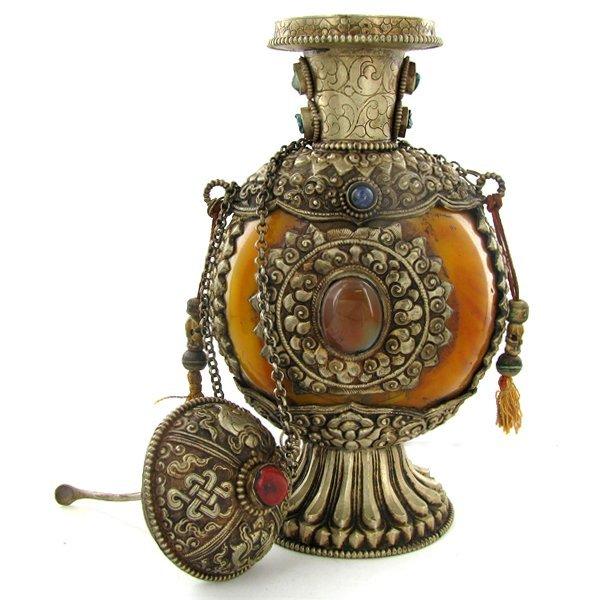 1993: Tibet HUGE Amber Nickel Snuff Bottle EST: $1800 - - 5
