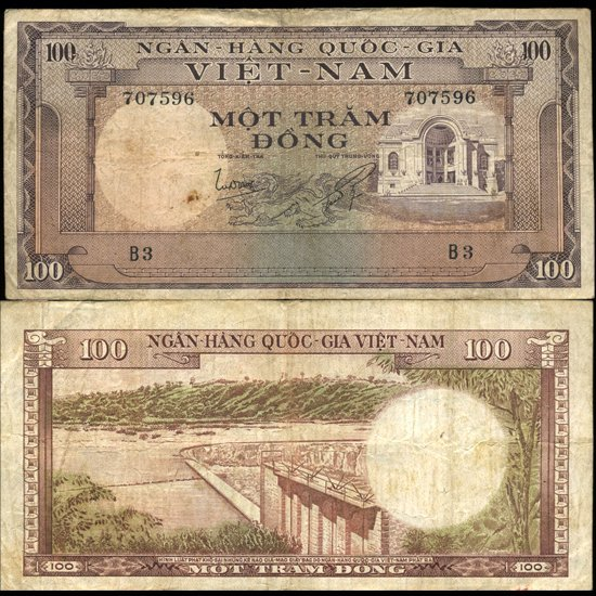 7: 1966 Vietnam 100 Dong Circulated EST: $30 - $60 (CUR