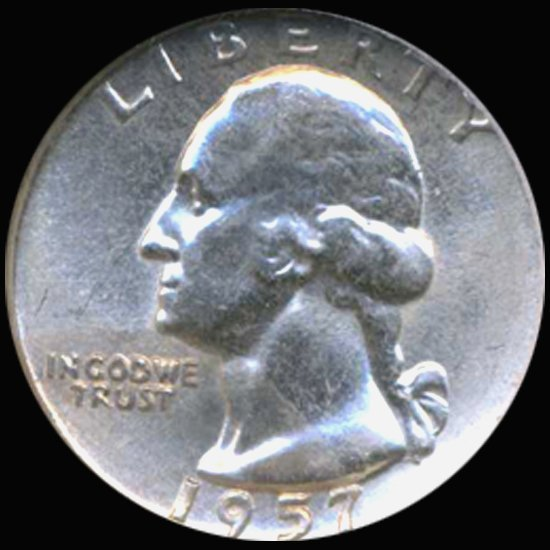 38: 1957 Washington 25c Silver Quarter Graded GEM EST: