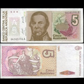1989 Argentina 5 Australes Note Crisp Unc EST: $9 -
