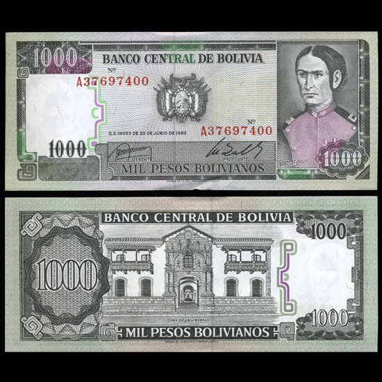 49: 1982 Bolivia 1000 Pesos Crisp Uncirculated Note EST