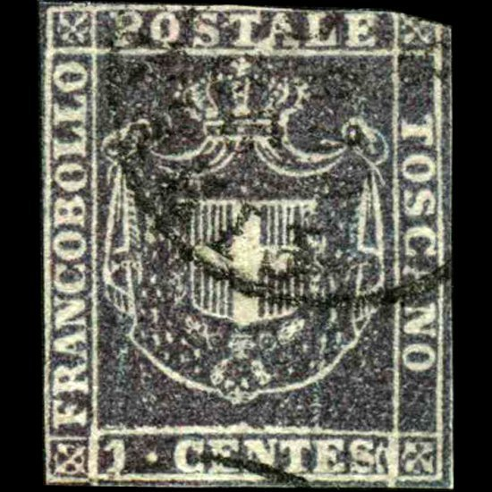 1261: 1860 Tuscany 1c Stamp EST: $1500 - $3000 (STM-090