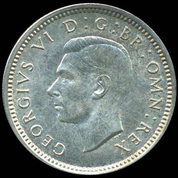 1943 Britian 3p Silver MS63 Scarce