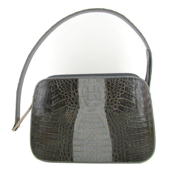 Ladies Dark Brown/Gray Crocodile Handbag