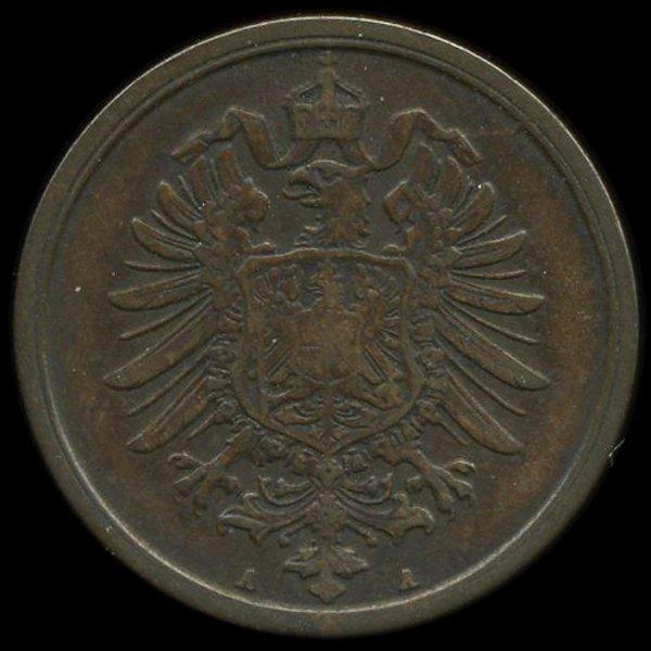 5: 1874A Germany 2pf VF/XF ERROR