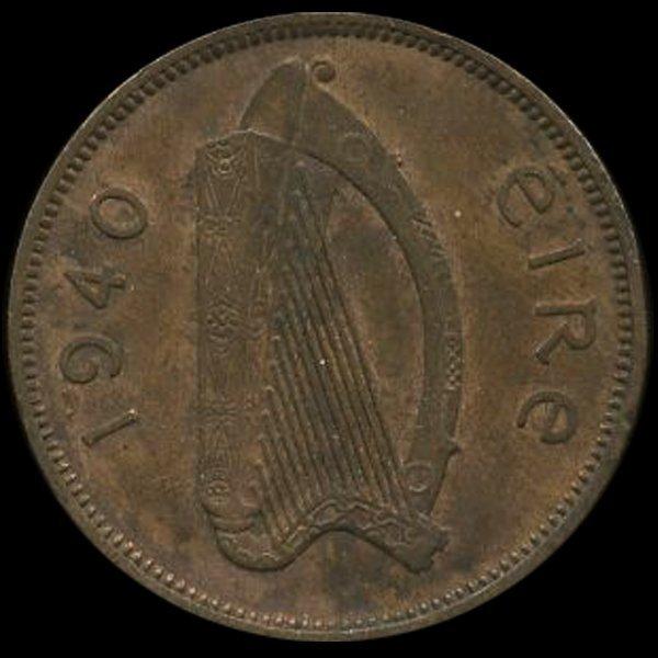 11: 1940 Ireland 1/2p AU Scarce