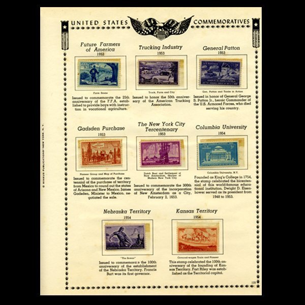 15: 1953 US Stamp Album Page 8pcs
