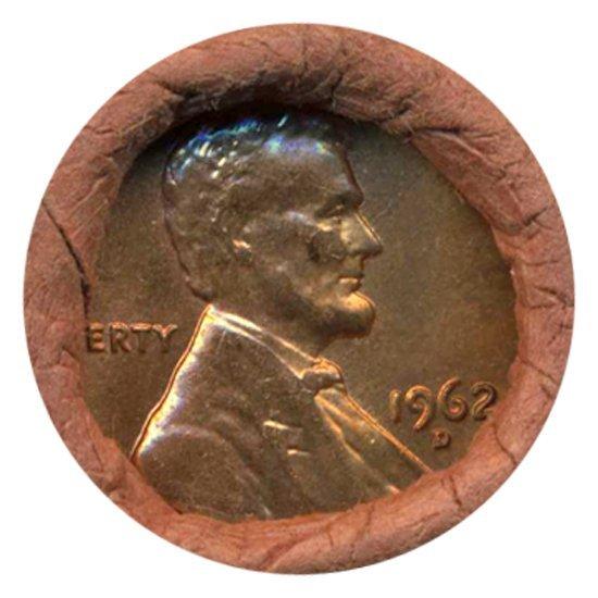 29: 1962D Linc 1c BU RARE UnOpened Bank Roll 50 GEMS