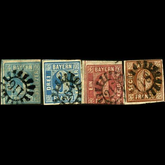 33: 1849/50 Bavaria 1k-6k Stamps