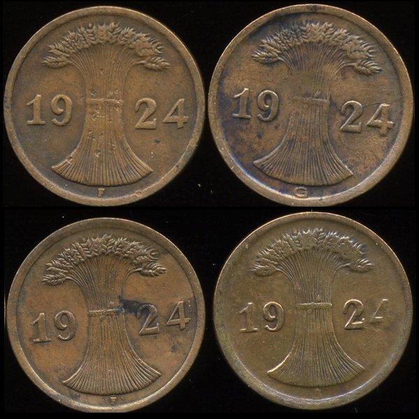 34: 1924 Germany 2pf VF/XF 4Pcs.