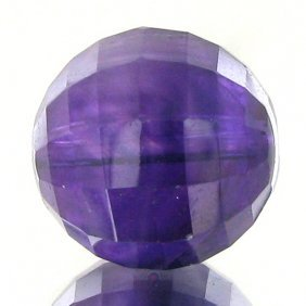 11.09ct Faceted Uruguay Purple Amethyst Round Bead