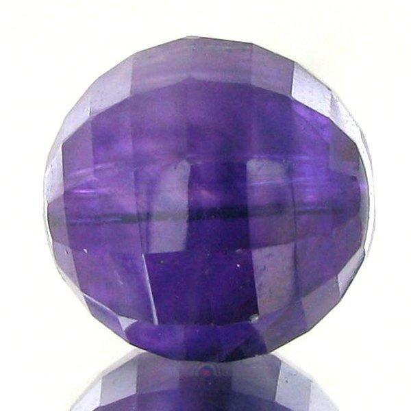 36: 11.09ct Faceted Uruguay Purple Amethyst Round Bead