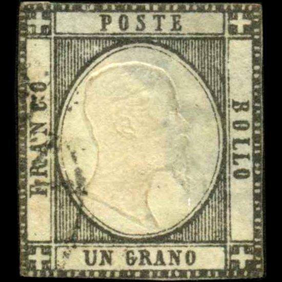 41: 1861 RARE Italy Neapolitan 1g Stamp