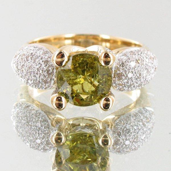 77A: 3.25ct Demantoid Garnet Diamond 14k Ring