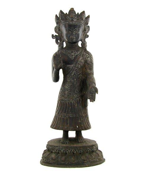 1060: Antique Nepal Standing Buddha Bronze