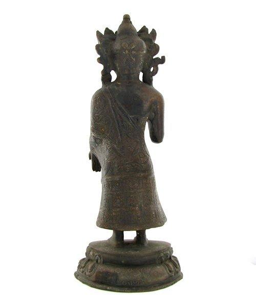 1060: Antique Nepal Standing Buddha Bronze - 2