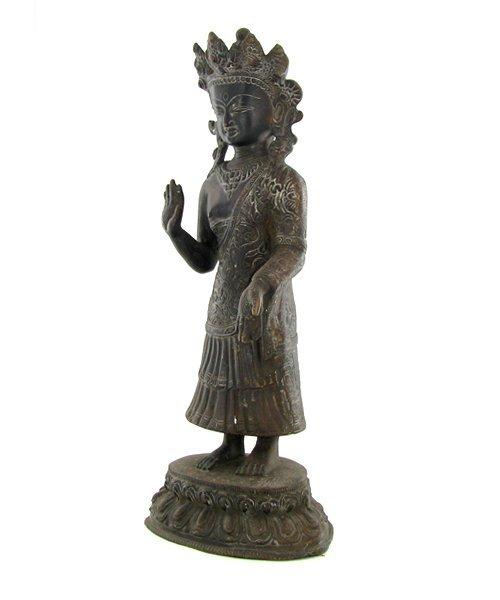 1060: Antique Nepal Standing Buddha Bronze - 3