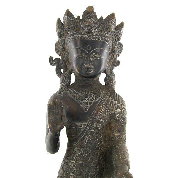 1060: Antique Nepal Standing Buddha Bronze - 4