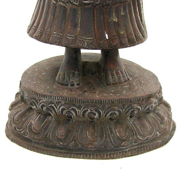 1060: Antique Nepal Standing Buddha Bronze - 6