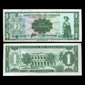 1952 Paraguay 1 Peso Note Crisp Uncirculated Ty 1