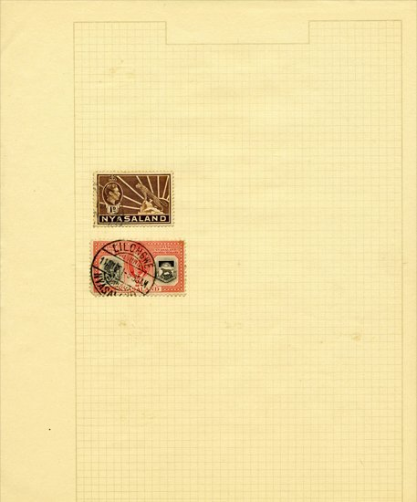 1940s Nyasaland Hand Made Stamp Album Page 2 Pcs