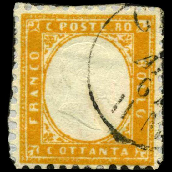 1862 RARE Italy 80c Stamp on Piece
