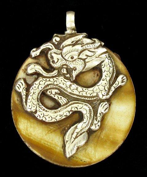 80ct Vintage Tibet Silver Shell Pendant