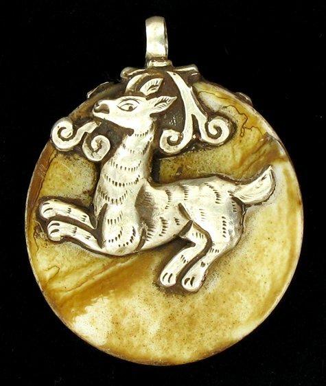 80ct Vintage Tibet Silver Shell Pendant - 2